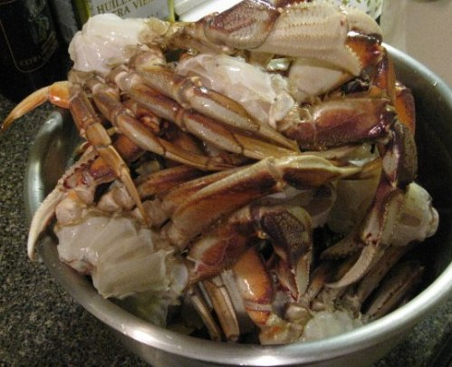 One of the bowls of cleaned crab ready for the cooking pot.